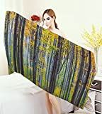 warmfamily Fall Adults Soft Absorbent Quick Dry Blanket Lush Beech Fall Tree with Tall Bodies Wilderness Rural Countryside Themed Design Large Bath Towel Grey Yellow