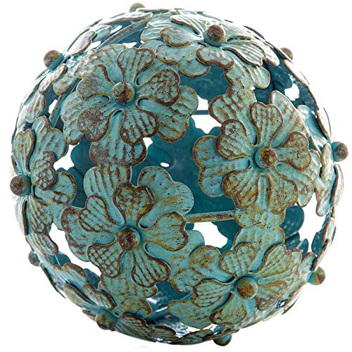 Decorative Glass Balls (Antique Blue Metal Flower Decorative Sphere)