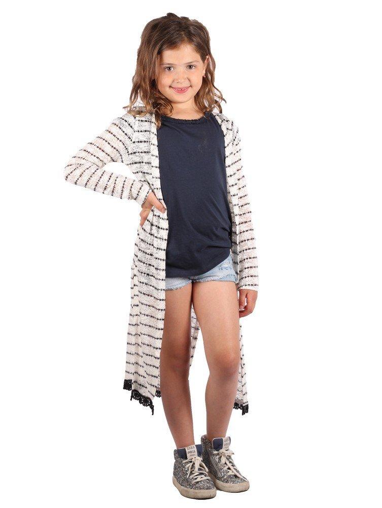 Lori&Jane Big Girls White Black Stripes Trendy Long Cardigan 8-10