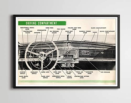 Classic Cars Coronet Pop Art 1950 Dodge Dashboard 24 x 36 Wayfarer Halftone - Various Sizes Full-Size POSTER D33 D34