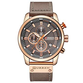 8420bda3990 Mens Water Resistant Sport Chronograph Watches Military Multifunction  Leather Quartz Wrist Watches (gold gray)