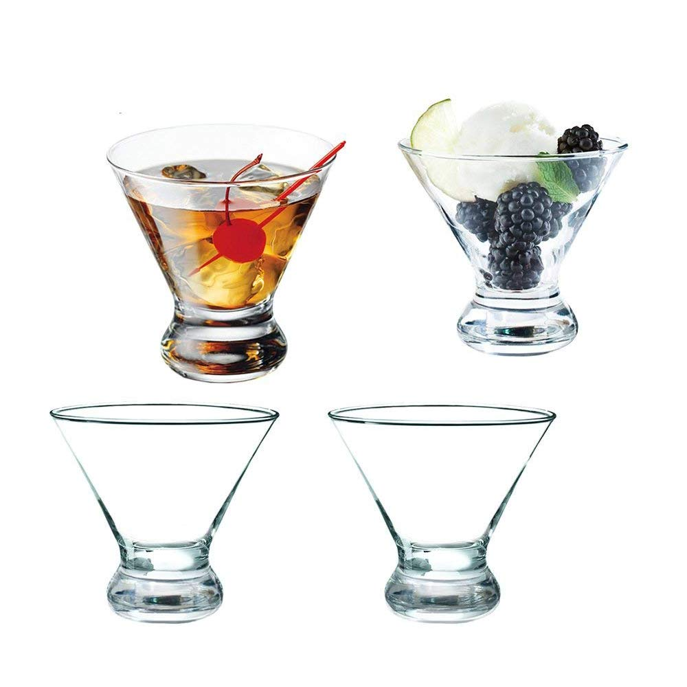 Stemless Thick Cocktail Glass, Martini Whiskey 8 oz Dessert Cup, Ice cream Cup(set of 4)