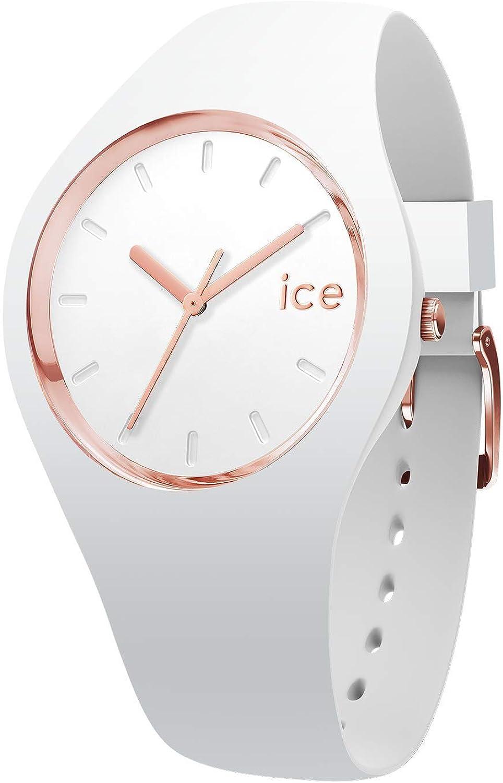 Ice-Watch - Ice Glam White Rose Gold - Reloj Blanco para Mujer con Correa de Silicone