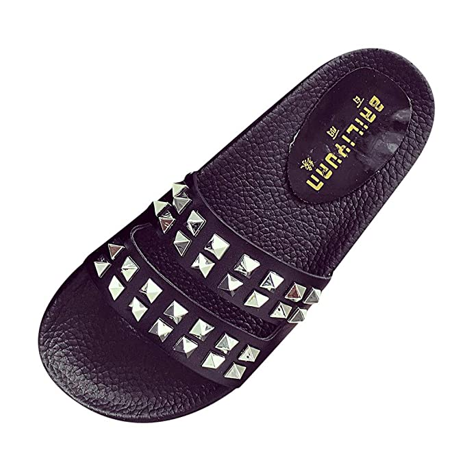 1e6b06d107f72a Women Ladies Beach Sandals Hollow Out Rivet Casual Slippers Flats Shoes  Black