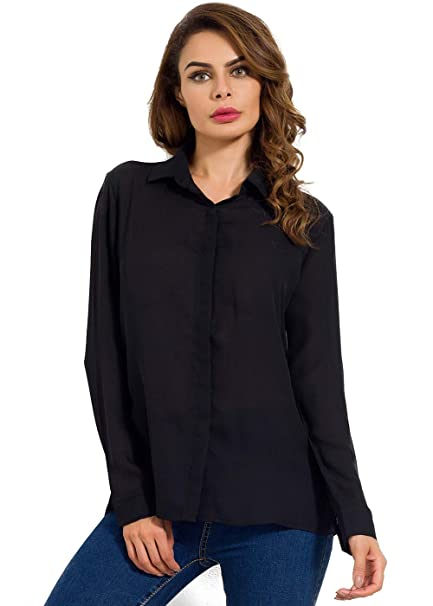 525c8b17faf MOQUEEN Womens Long Sleeve Chiffon Blouses Button Down Shirts Loose Casual  Tops at Amazon Women s Clothing store