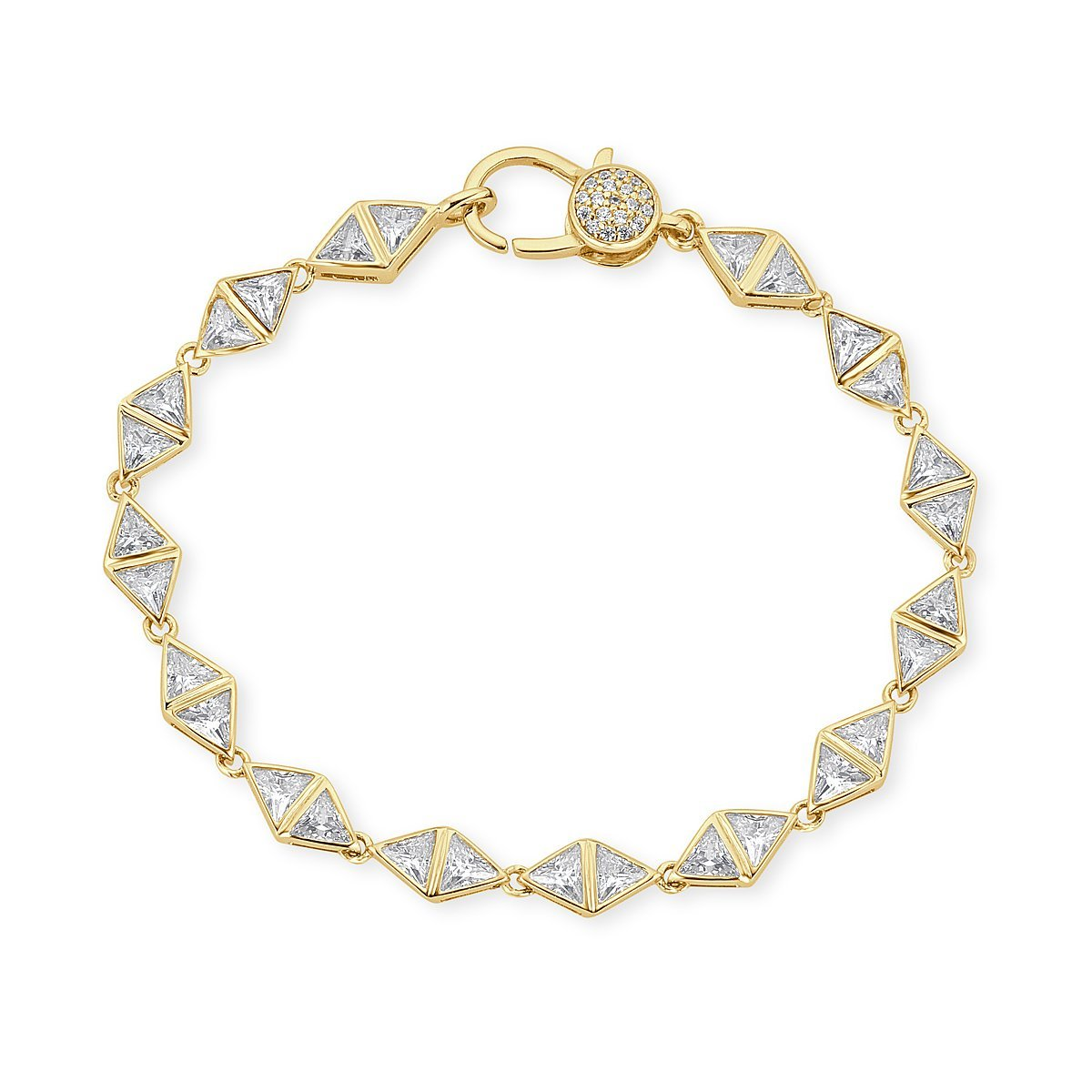 Gold Plated Sterling Silver Triangle Cubic Zirconia Bracelet by Caratina