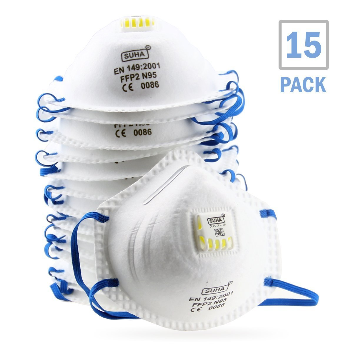 DCM Particulate Respirator N95 NIOSH Certified Safety Mask with Cool Exhalation Valve (15 Pack) Particle Dust Mask for Drywall Sanding, Grinding, Sawing, Painting and Insulating Particles