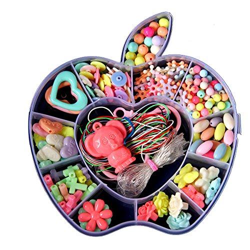 カラフルビーズ ビーズアクセサリー 知育玩具 ハンドメイド 女の子 おもちゃ ビーズ キット アクセサリー 子供のお誕生日プレゼント 収納ケース付 (りんご型)
