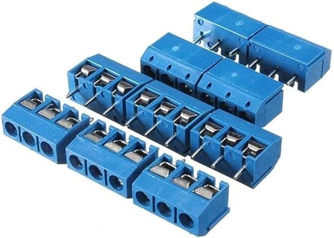 Ri Sheng Jian Zhu 50pcs 5mm KF-301 3 Broches for Montage sur Circuit imprim/é connecteur /à bornes /à vis du connecteur NF