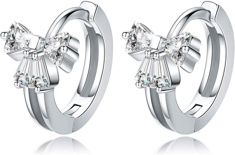 Bow Earrings Butterfly Hoop Earrings 925 Sterling Silver Small Hoop Earrings for Women Cute Crystals Circle Huggie Earrings for Her