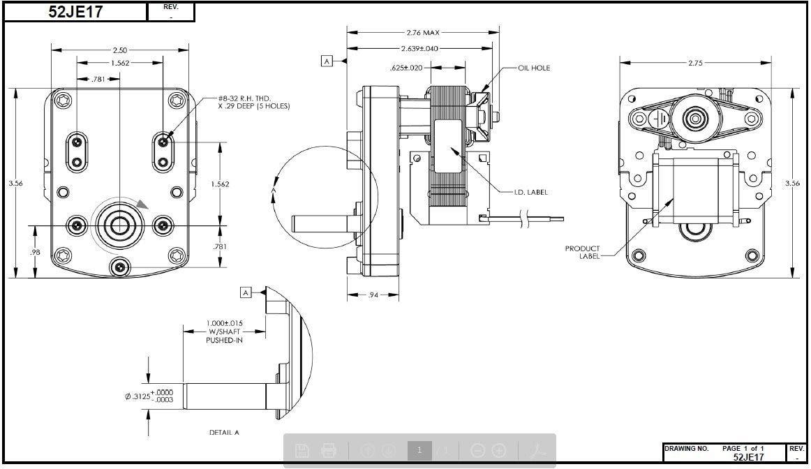 DAYTON 52JE17 AC Gearmotor,Nameplate RPM 4,0.32A,115V