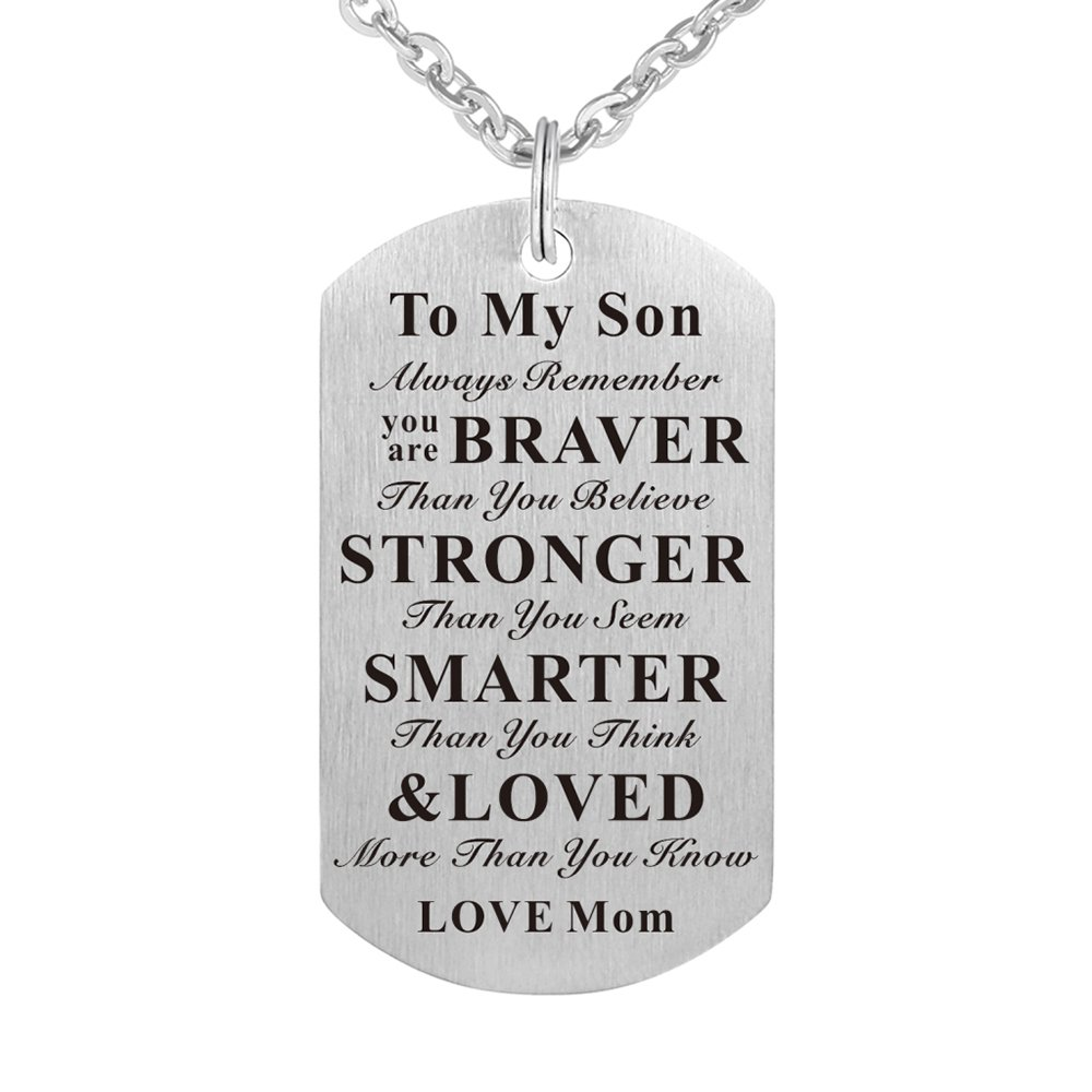 Kisseason Always Remember You are Braver than You Believe To My Kids Child Son Daughter Birthday Gift Jewelry Dog Tag Keychain Pendant Necklace From Dad Mom Factory