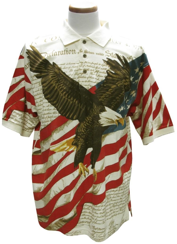 American Summer Flag Patriotic Eagle Shirt,Large