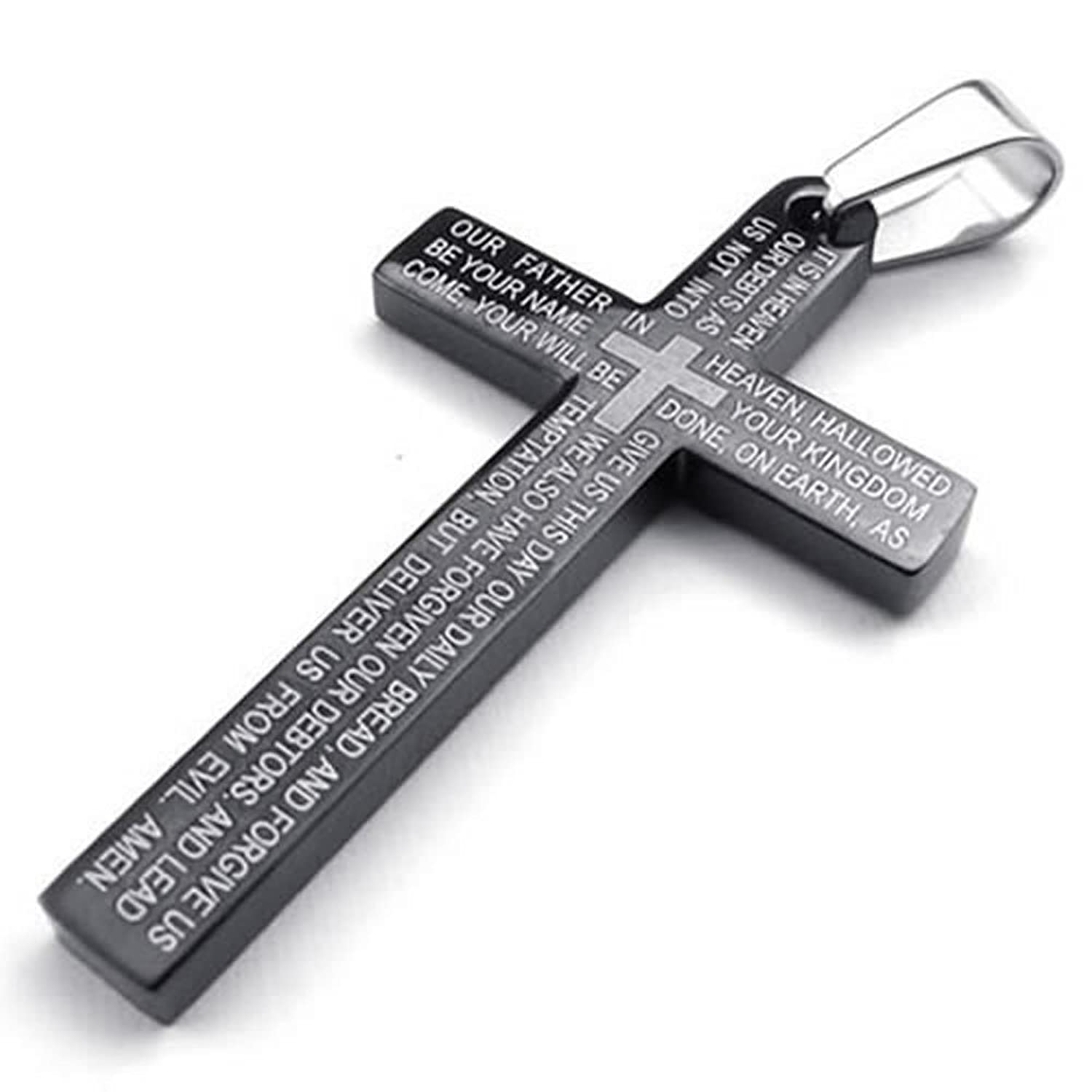 KONOV Stainless Steel Mens Lords Prayer Cross Pendant Necklace, Black, 24 inch Chain