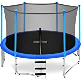 Zupapa 15 14 12 10 FT Kids Trampoline 425LBS Weight Capacity with Enclosure net Safety Pad Jumping Mat Spring Include All Accessories Great Outdoor Backyard Trampoline