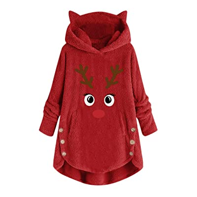 Sttech1 Christmas Reindeer Printed Hoodie for Women, Long Sleeve Fuzzy Casual Loose Warm Sweatshirt Tops with Pockets: Clothing