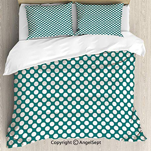 AngelSept Bedding 3-Piece Set,Polka Dotted Pattern Traditional Style European Inspired and Vibrant Colored Image Decorative,King Size,Soft Microfiber Wrinkle Fade,Teal White