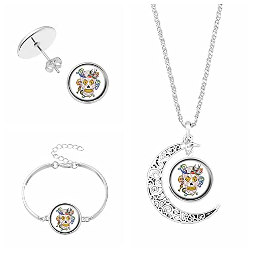 92f6c29f0 Mexico Sugar Skull Jewelry Sets For Women Gift Earrings Bracelet Moon  Statement Necklace Sets Vintage Silver