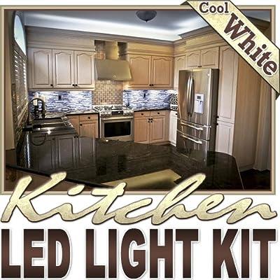 Biltek 16.4' ft Cool White Kitchen Counter Cabinet LED Lighting Strip + Dimmer + Remote + Wall Plug 110V - Counters Microwave Glass Cabinets Floor Night Light Lamp Waterproof Flexible DIY 110V-220V