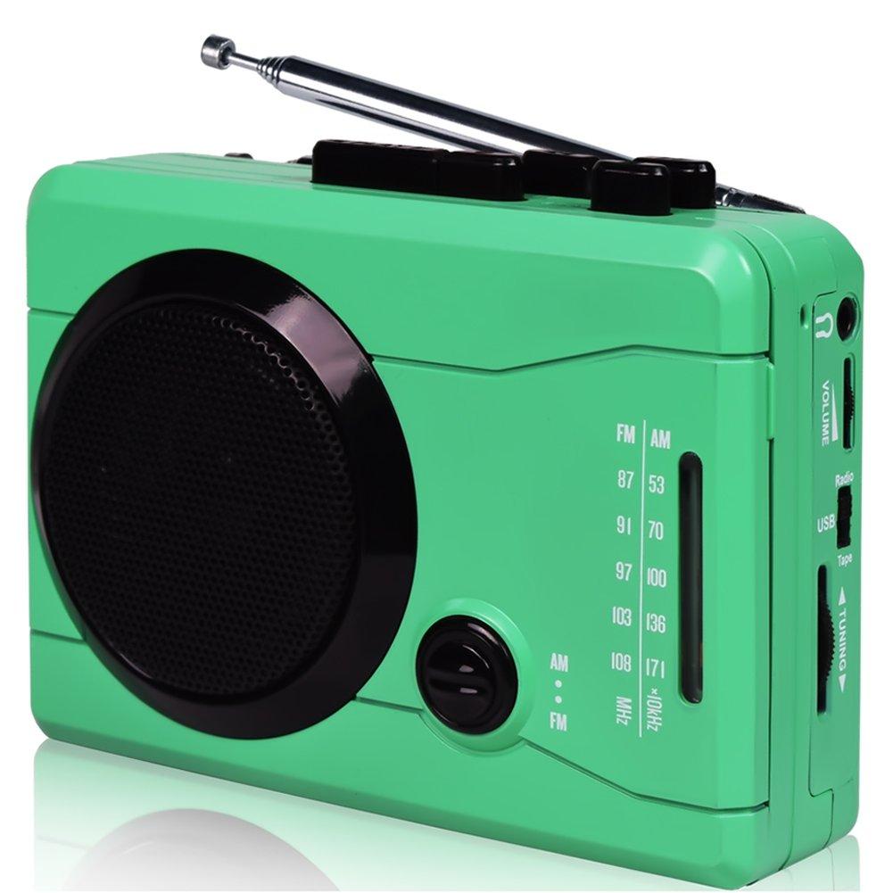 DIGITNOW! Mini lecteur/enregistreur rétro USB, cassette audio. Enregistrement avec écouteurs, haut parleur et musique AM/FM sans fil. Convertisseur cassette audio vers MP3 (Vert)