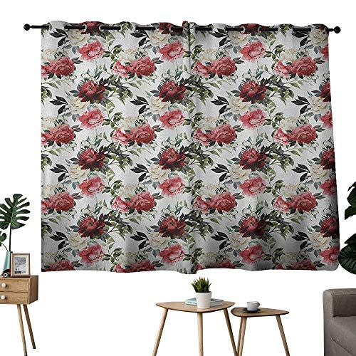 NUOMANAN Light Blocking Curtains Shabby Chic,Floral Flower Roses Buds with Leaves and Branches Art Print, Red Maroon and Olive Green,Insulating Room Darkening Blackout Drapes 42