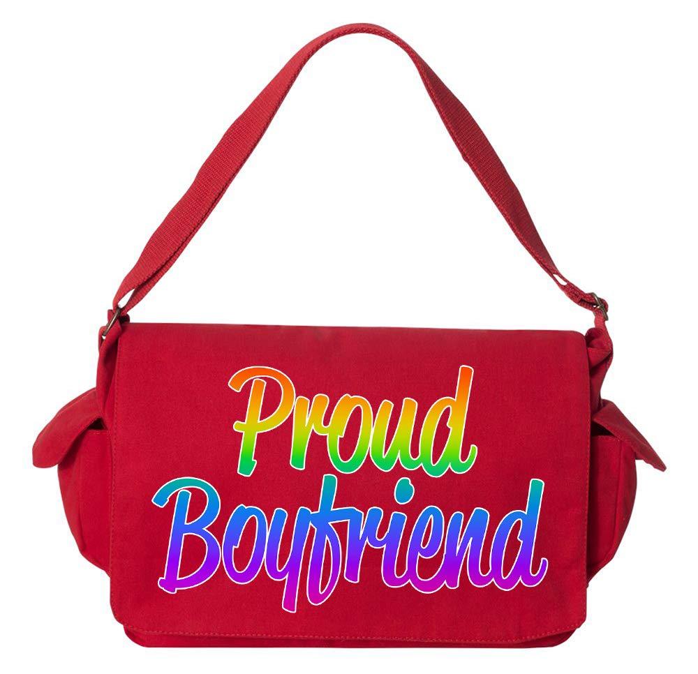 Tenacitee Proud Boyfriend Flamingo Raw Edge Canvas Messenger Bag