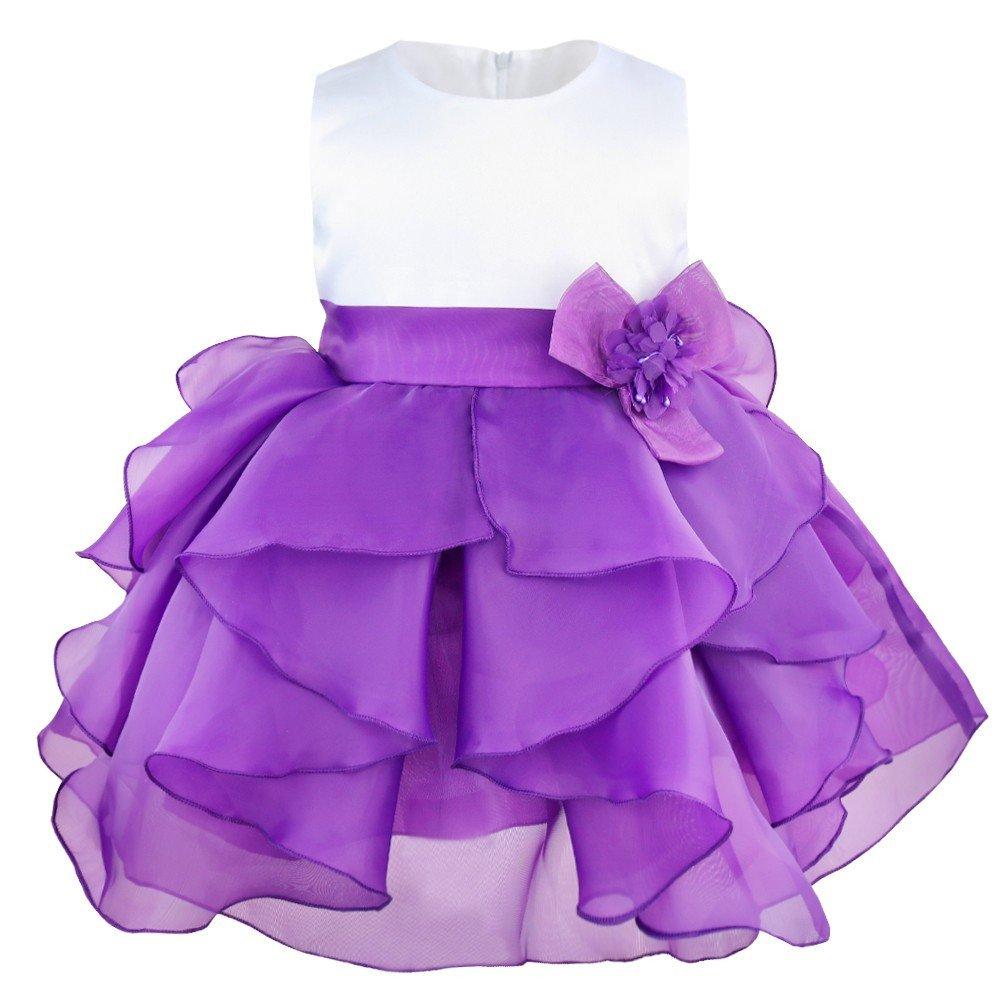 iiniim Vestido de Bébes para Bautizo Vestido de Fiesta para Niñas y Bebés 3 Meses a 3Años de Organza Flor Vestido de Tutú