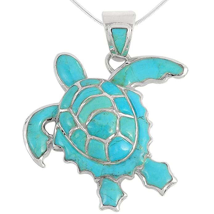 Turquoise Network Turtle Pendant Necklace in Sterling Silver 925 & Genuine Gemstones