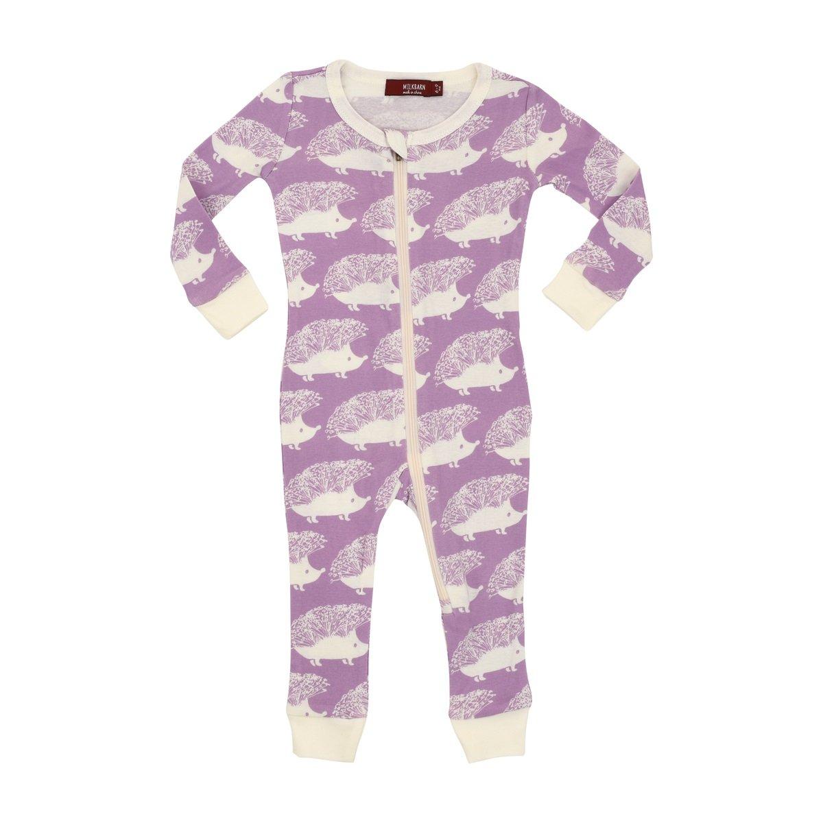 MilkBarn Organic Cotton Zipper Pajama Lavender Hedgehog