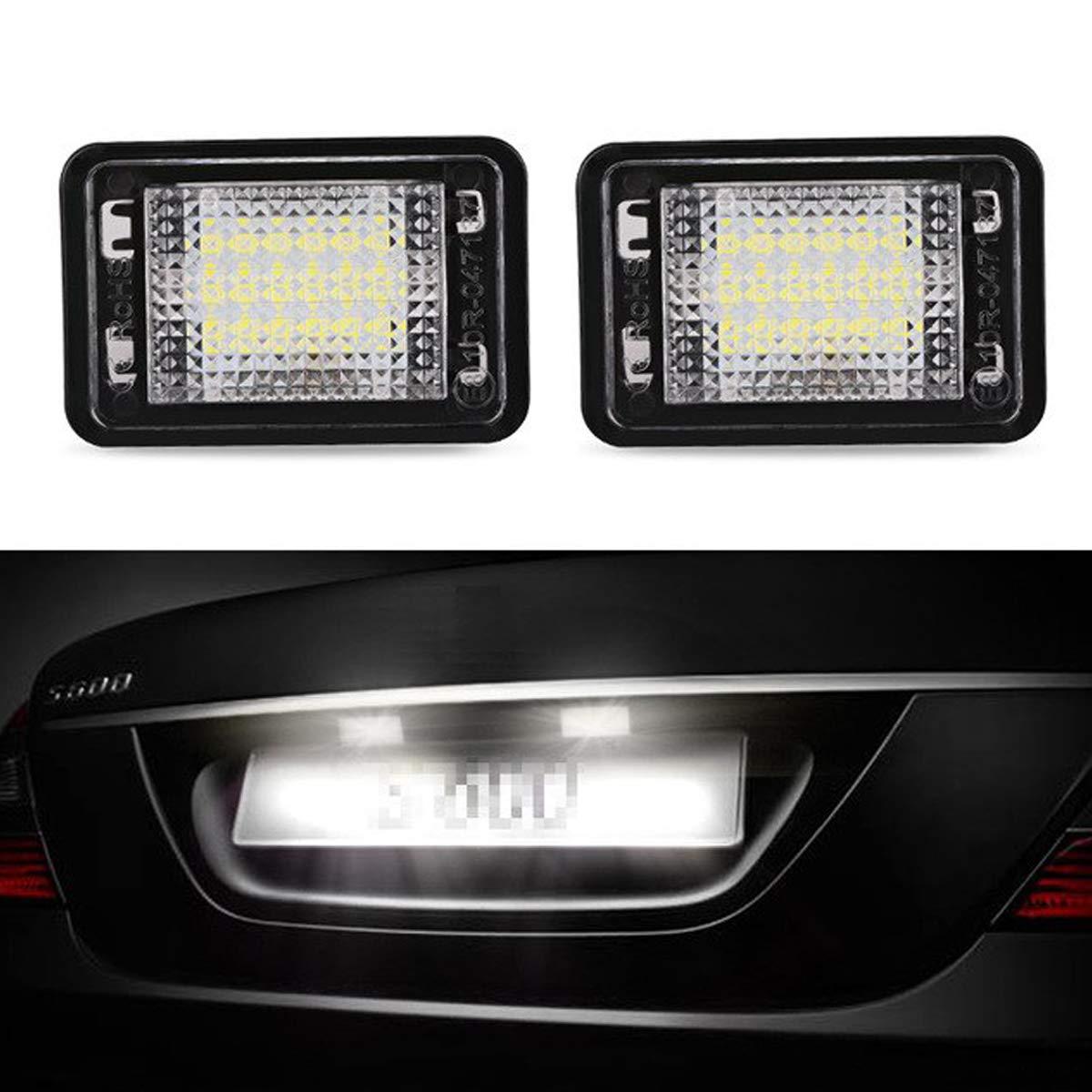 GOFORJUMP 2pcs pour Mercedes Benz GLK X204 Canbus sans Erreur LED Lampe de Plaque d'immatriculation Blanc 12V LED Lampe de Plaque d'immatriculation pour Benz Accessoires