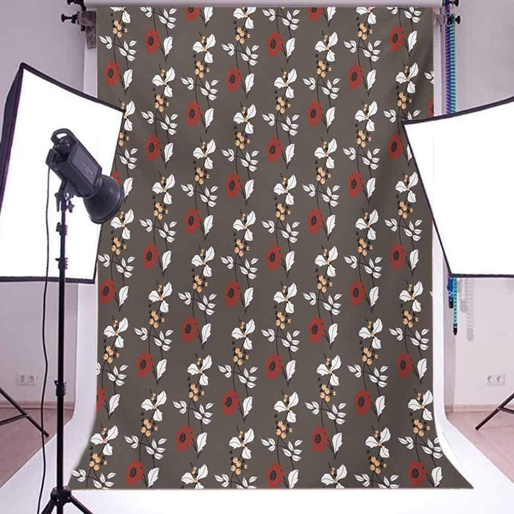 10x12 FT Backdrop Photographers,Seamless Pattern with Autumn Flowers Buds and Fruits in Kitchen Themed Artwork Image Background for Photography Kids Adult Photo Booth Video Shoot Vinyl Studio Props