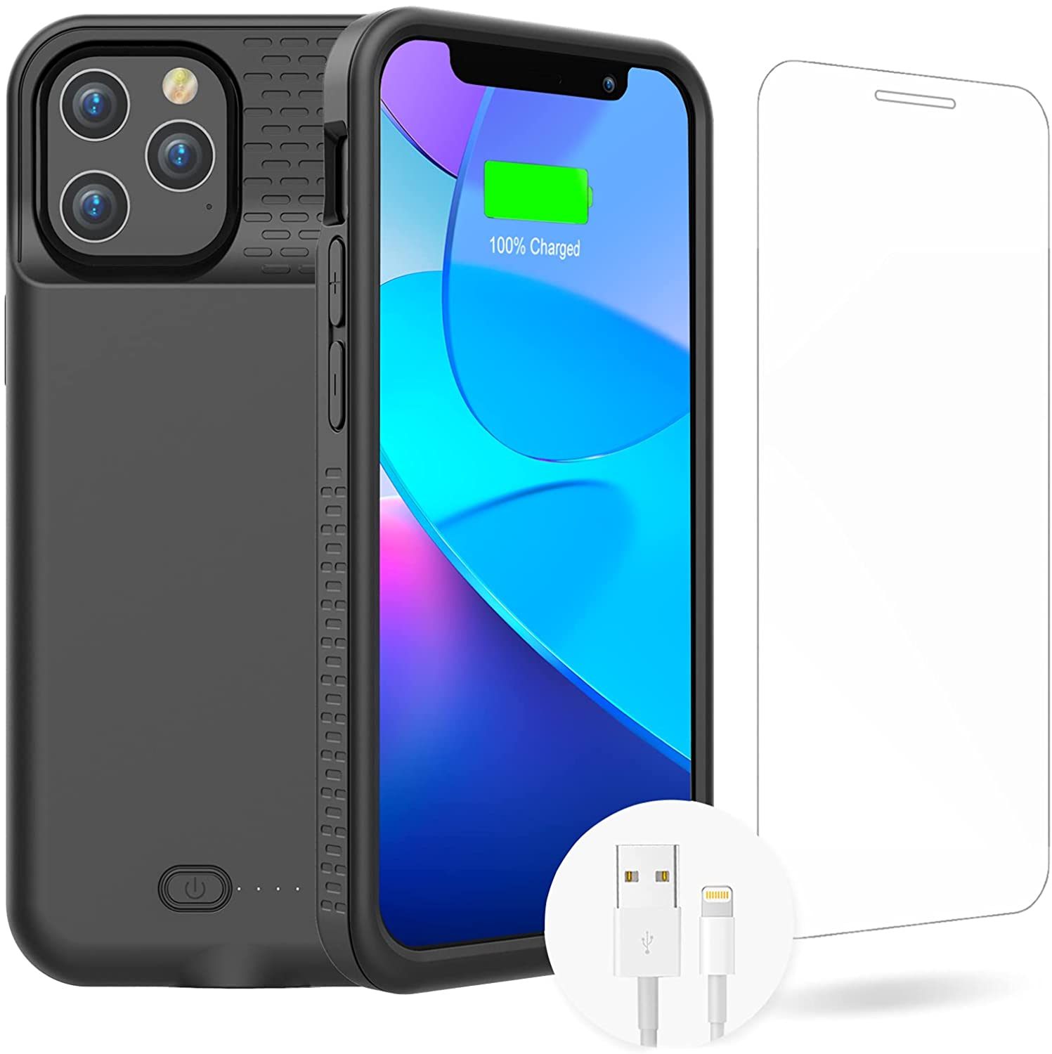 GIN FOXI Battery Case for iPhone 12 Pro Max, Real 7000mAh Ultra-Slim Battery Charging Case Rechargeable Anti-Fall Protection Extended Charger Cover for iPhone 12 Pro Max Battery Case(6.7 inch)