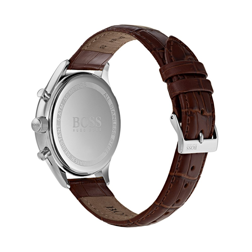 Amazon.com: Hugo Boss Companion Beige Dial Leather Strap Mens Watch 1513544: Watches