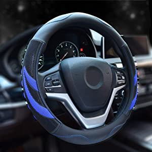 Alusbell Microfiber Leather Steering Wheel Cover Breathable Auto Car Steering Wheel Cover for Men Universal 15 Inches (Blue)