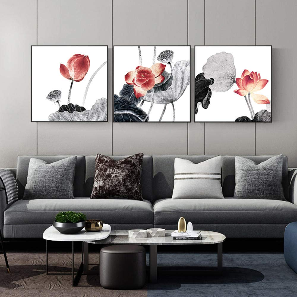 Mosaic Diamond Painting Diamond Painting Triptych Chinese-Style Plaster Cross Stitch Ink Lotus Flower Elegant Rhyme Tea Room Diamond Embroi@120X40Cm by YANJUNHONG