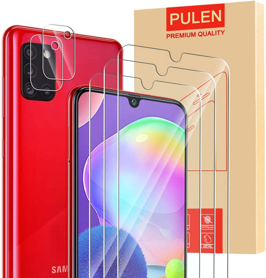 Amazon Com 5 Pack Pulen For Samsung Galaxy A31 Screen Protector 3 Pack With 2 Pack Camera Lens Protector Hd Clear Scratch Resistant Bubble Free Anti Fingerprints 9h Hardness Tempered Glass