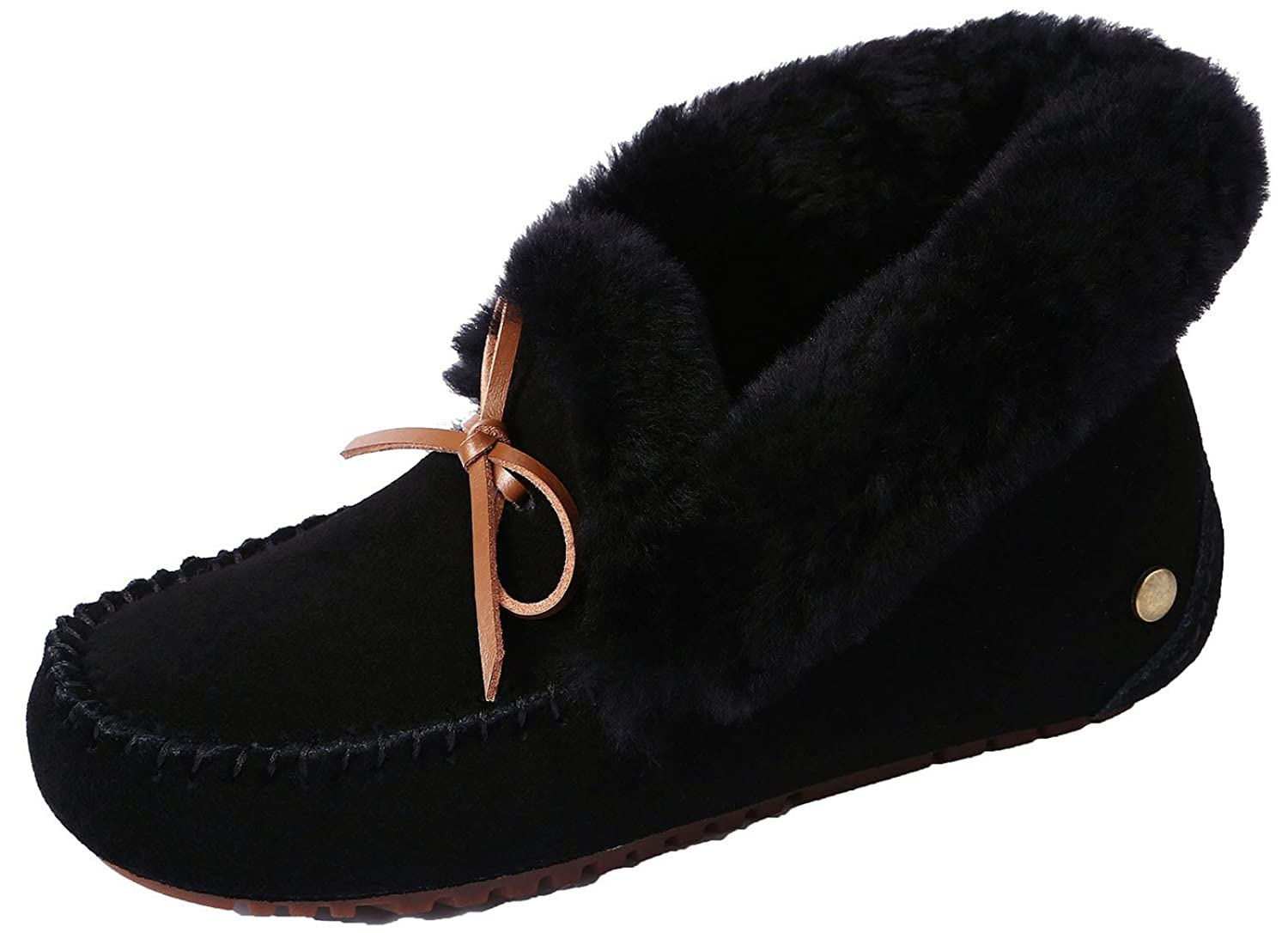 U-lite Women's Warm Fur Wool Slipper Casual Winter Slouch Flat Indoor&Outdoor Loafer, Wool Slippers for Women