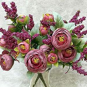 MARJON FlowersBouquet Flowers 1 Bouquet 10 Heads Pretty Wedding Mini Rose Artificial Silk Flower Bride Home Wedding Decoration Fake Peony Flowe, Rose Red 62