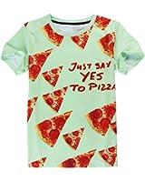 Apanqiqi Men Hip Hop Tops Tees Casual Clothing 3D Food Pizza Print T-Shirts Homme