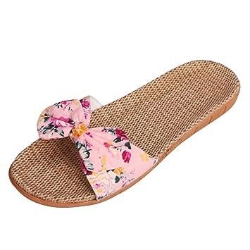 Slipper Anti Sandales Femme Chaussons De D'été Lin Ouvert Pantoufle En Plage Plates Avec Papillon Voyage Glisse Nœuds Bout Piscine Respirant N8nOk0XwP