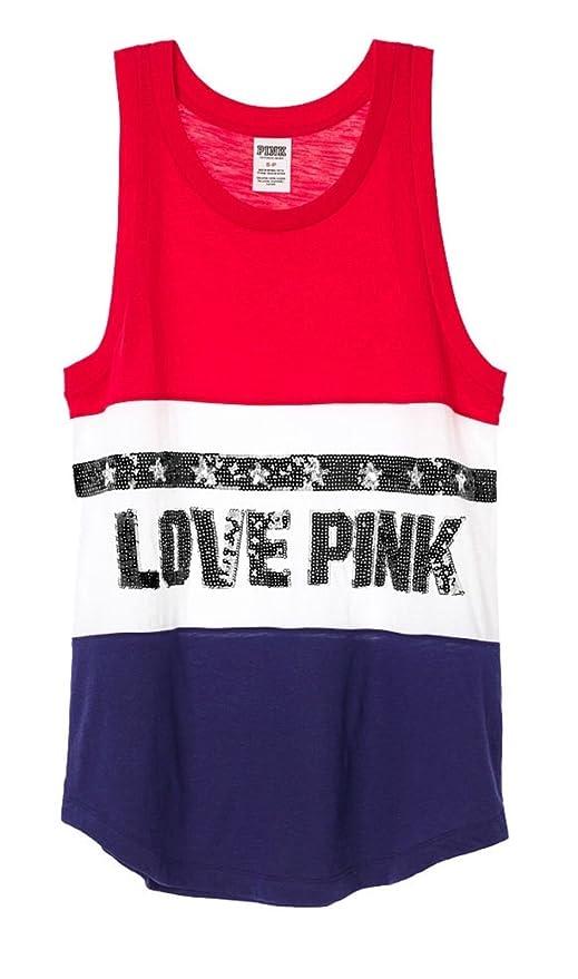 fce7cc9956147 Amazon.com: Victoria's Secret LOVE PINK Bling Flag Sequins Muscle ...