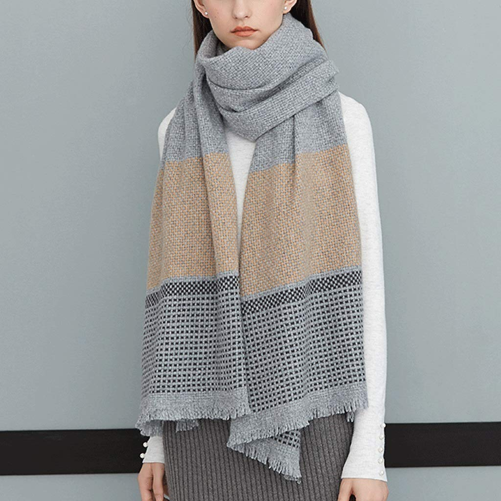 C WXL Scarf Shawl Both Uses Woman Thicken Keep Warm Fiber Large Size 200cm×65cm V (color   A)