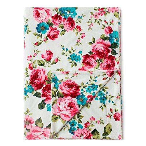 "Kids N' Such Minky Baby Blanket 30"" x 40"" - White Floral - Soft Swaddle Blanket for Newborns and Toddlers - Best for Girl Crib Bedding, Nursery, and Security - Plush Double Layer Fleece Fabric"