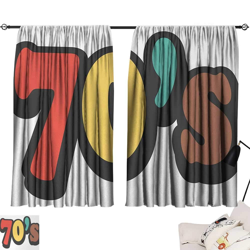 Jinguizi 70s Party Curtain Darkening Blackout The Seventies Symbol Striped and Soft Colored Music Discotheque Artful Design pop Darkening Curtains Multicolor W55 x L39
