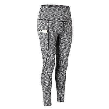 Leezo Leggings Fitness Splice pour Femme Séchage Rapide Sports Yoga  Pantalon avec Poches M Black Space c31d63e138c