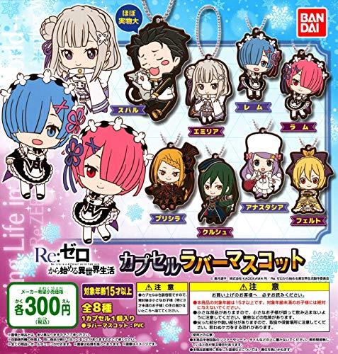 Bandai Re:Zero Starting Life Character Gacha Capsule Rubber Mascot Key Chain Collection Anime Art Set 8 PCS