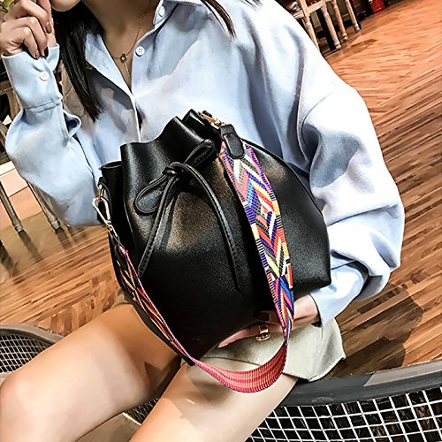 TOOGOO Women bag with Colorful Strap Bucket Bag Women PU Leather Shoulder Bags Designer Ladies Crossbody messenger Bags brown