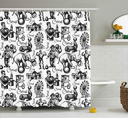 Ambesonne Modern Shower Curtain, Circus Words and Themed Continous Pattern with Magician Baloons Phrase Artwork, Cloth Fabric Bathroom Decor Set with Hooks, 70