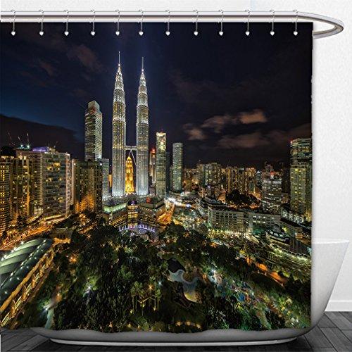 Interestlee Shower Curtain Kuala Lumpur Petronas Twin Tower during blue hour - Boston Macys Hours