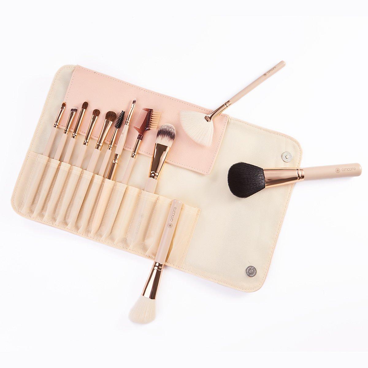 amoore 6Pcs Makeup Brushes with Case Makeup Brush Set Foundation Brush Eyeshadow Brush Travel Set (12 Pcs, Nude)